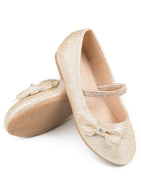 Pipiolo Little Girls Gold Glitter Bow Elastic Strap Mary Jane Shoes