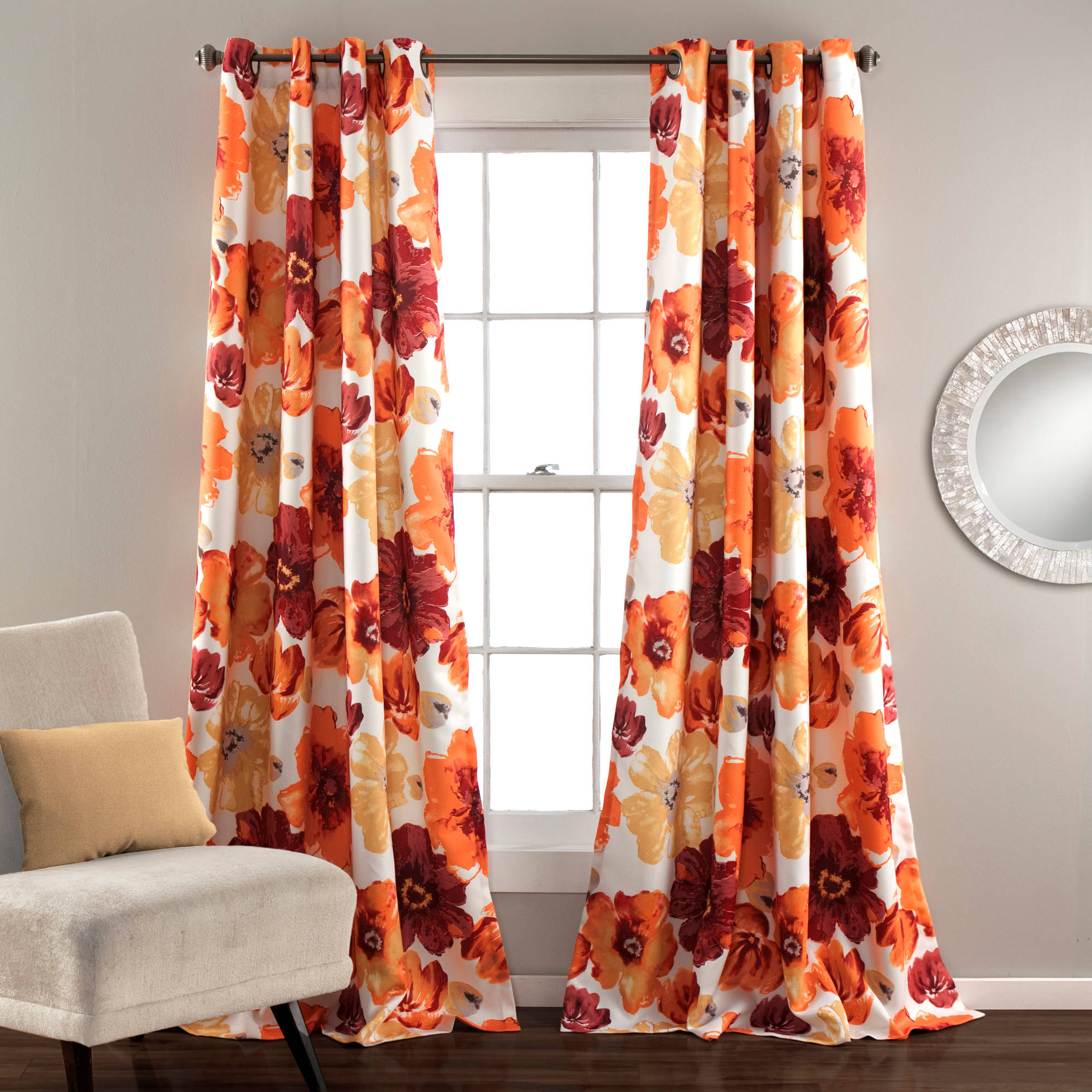 Leah Window Curtains, Red/Orange Set