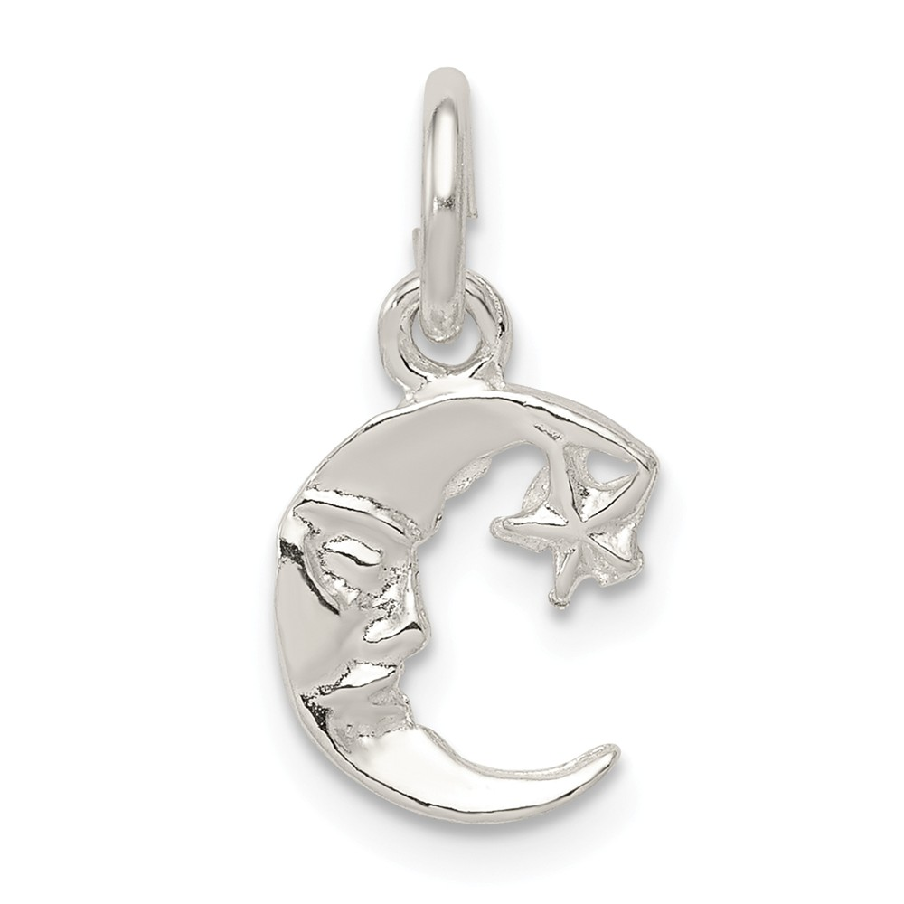 Sterling Silver Moon with Star Charm (0.7in long x 0.4in wide)
