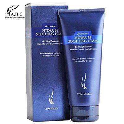 ahc premium hydra b5 soothing foam cleanser 180ml (6 oz), panthenol fills your skin with moisture and gives a pleasantly moistened feeling without tightening or tugging