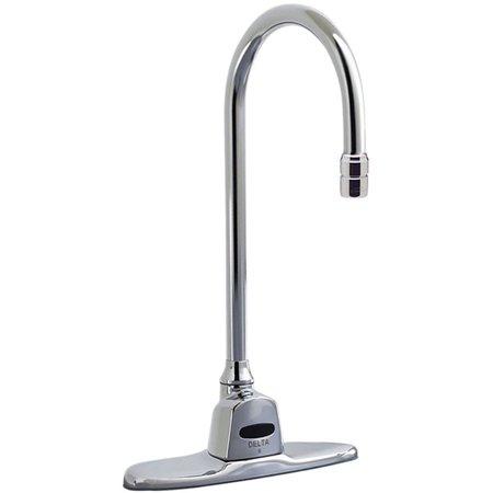 activated lavatory faucet with gooseneck spout chrome