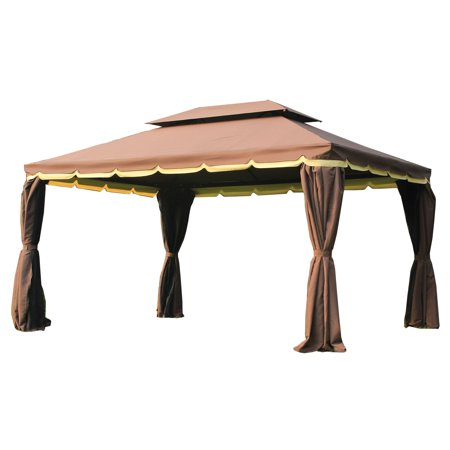 Outsunny 10 x 13 ft. Aluminum Outdoor Gazebo with Curtains