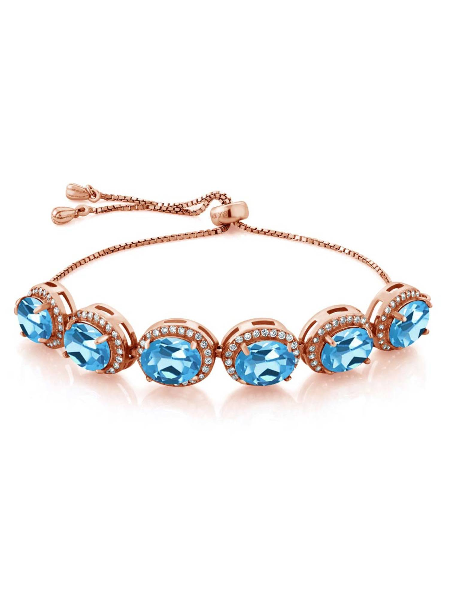 12.38 Ct Oval Swiss Blue Topaz 18K Rose Gold Plated Silver Bracelet by