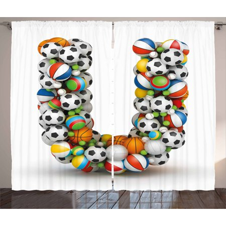 - Letter U Curtains 2 Panels Set, Fun Games Inventory Equipment and Letter U Combination Teamplay Colorful ABC Type, Window Drapes for Living Room Bedroom, 108W X 63L Inches, Multicolor, by Ambesonne