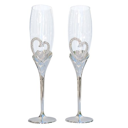Unik Occasions Double Heart Toasting - Beverly Clark Toasting Flutes