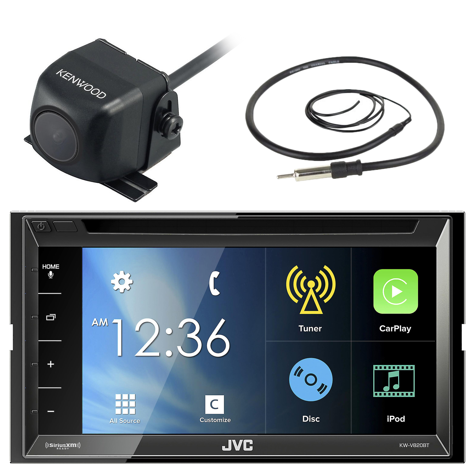 "JVC KW-V820BT 6.8"" Touch Screen Display Car CD DVD USB Bl..."