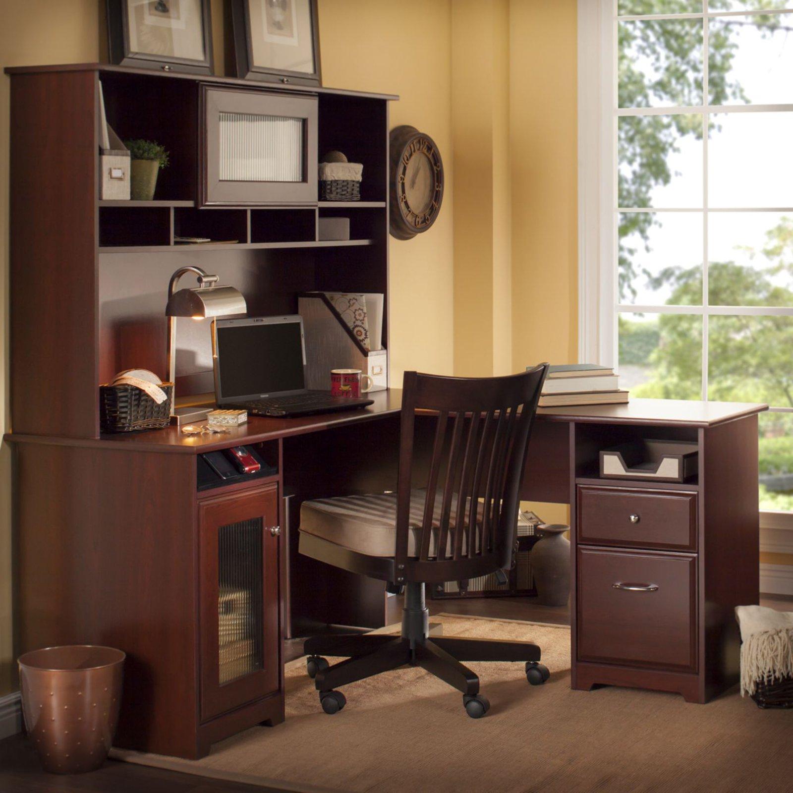 Bush Furniture Cabot 60 In L Shaped Desk With Hutch