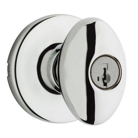 Door Handle Chrome Set - Kwikset 400AO-26S Polished Chrome Aliso Keyed Entry Door Knob Set with Smartkey