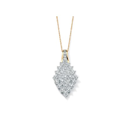 - 1/10 TCW Round Diamond Cluster Marquise-Shaped Pendant Necklace in Solid 10k Gold 18