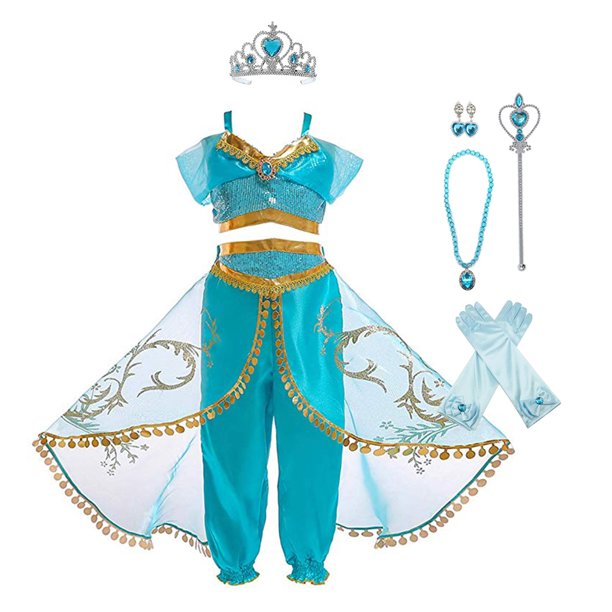 Princess Jasmine Aladdin Costume Dress Up For Toddler Girls 3 8t With Accessories Walmart Com Walmart Com