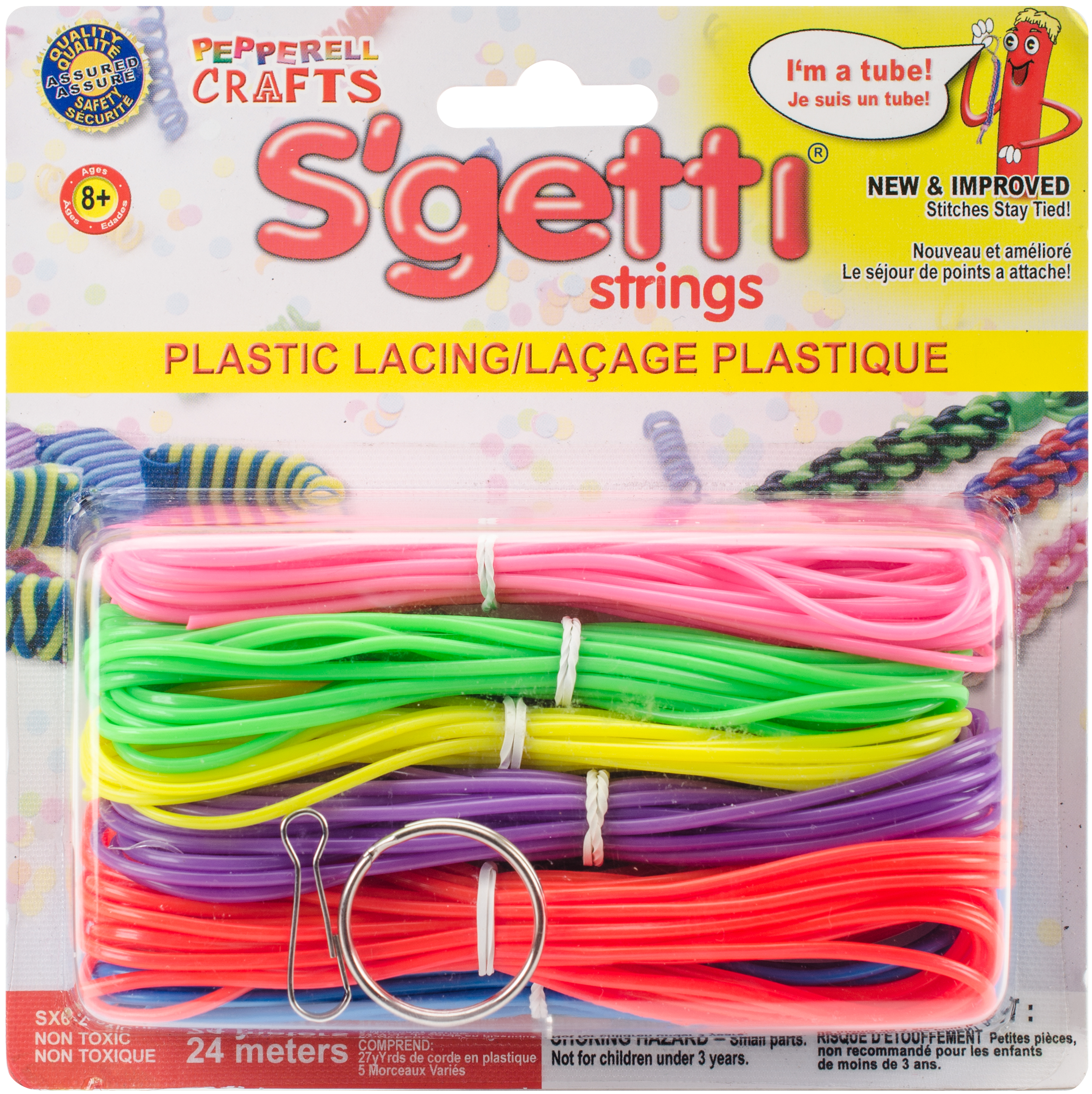 S'getti Strings Plastic Lacing, 27yd, Neon