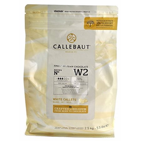 Callebaut W2 White Chocolate Baking Callets/Chips, 28% Cocoa, 5.5-lb Bag