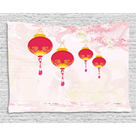 Lantern Tapestry, New Year of Chinese Calendar Celebrations Eastern Imagery Abstract Asian Art, Wall Hanging for Bedroom Living Room Dorm Decor, 80W X 60L Inches, Hot Pink Yellow, by Ambesonne - Chinese New Year Decor Ideas