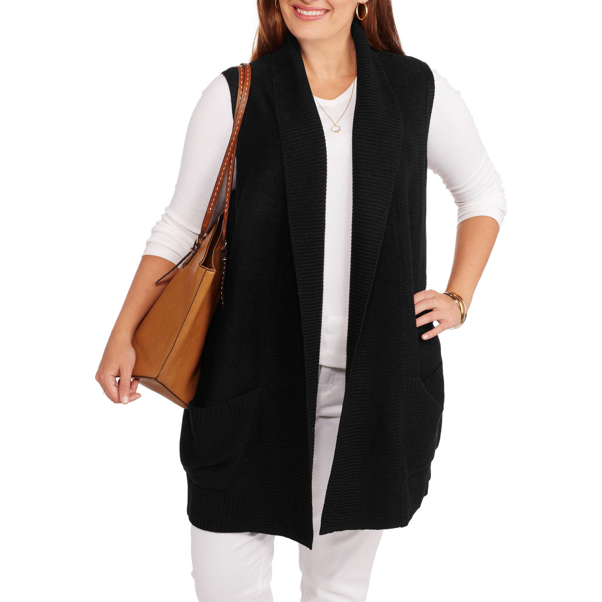 Faded Glory Women's Plus Shawl Collar Sleeveless Sweater Vest ...