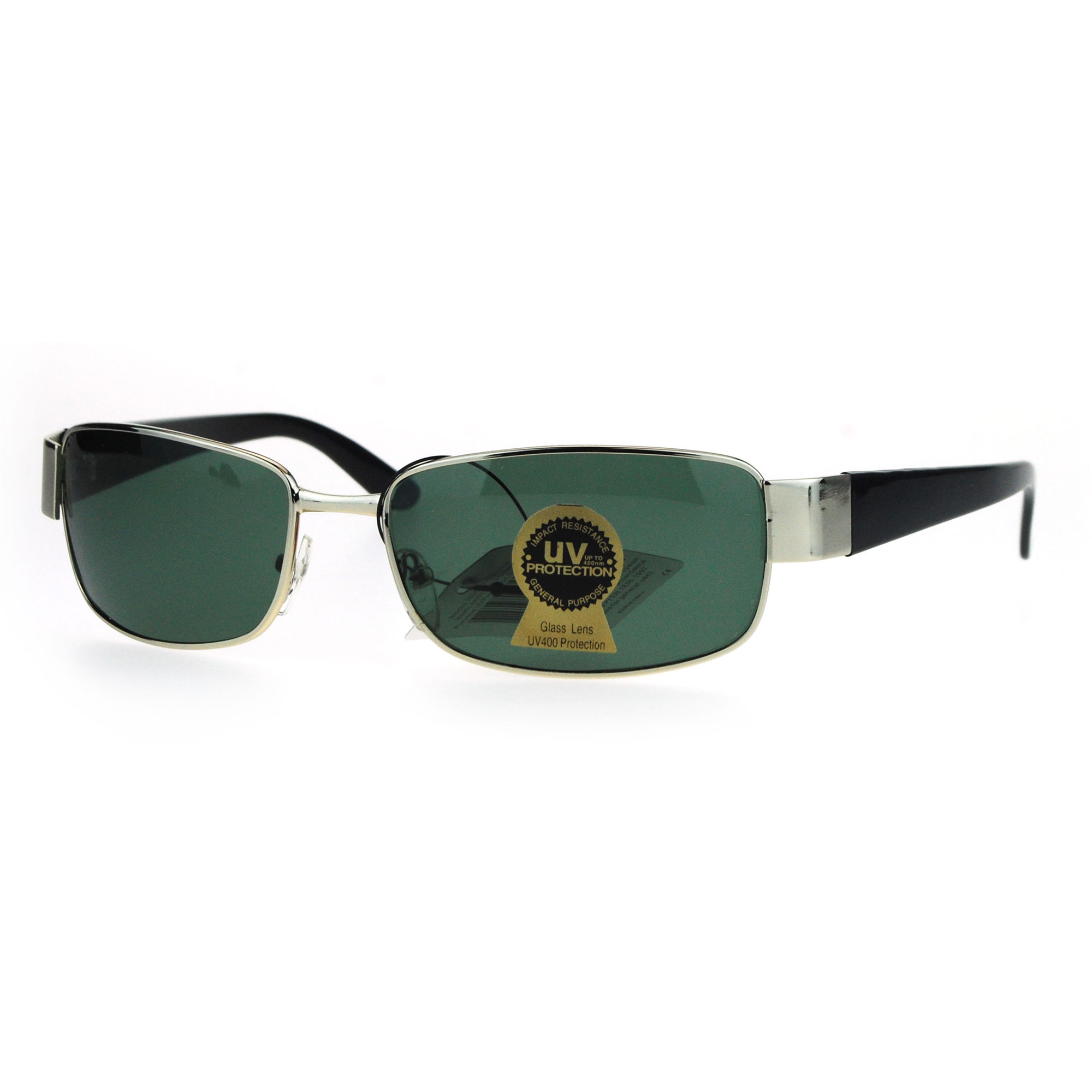 2147e238936 Tempered Glass Lens Rectangular Luxury Mens Designer Sunglasses Gunmetal  Black - Walmart.com