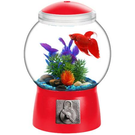 Aqua Culture 1 5 Gallon Gumball Aquarium  Led Lighting 9  Dia X 13  H