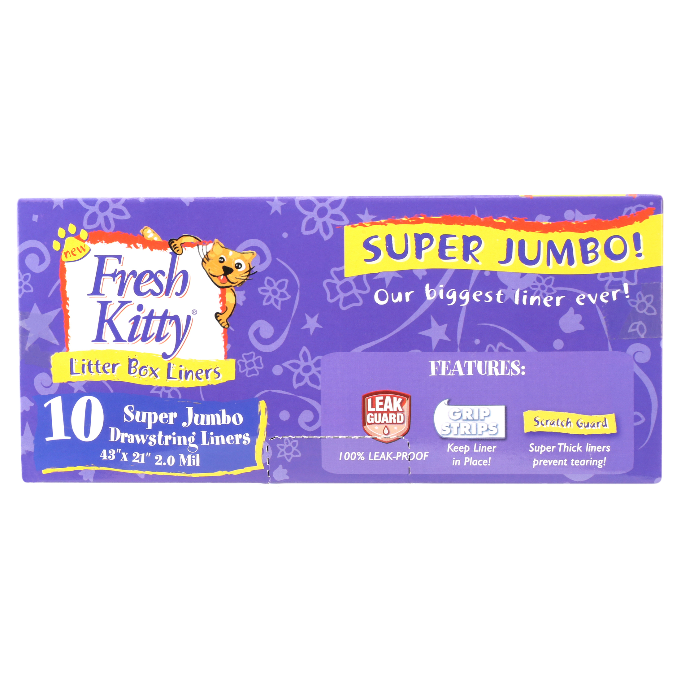 Durable 10 ct Pack of 2 Bags for Pet Cats Fresh Kitty Super Thick Easy Clean Up Jumbo Drawstring Scented Litter Pan Box Liners