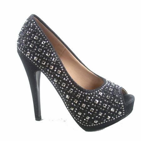 Sunset-68  Women's Rhinestone  Open Peep Toe Platform Stiletto High Heel Pump Bridal Shoes
