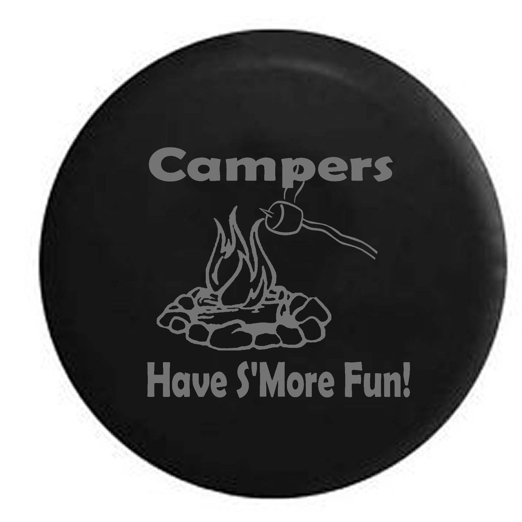Campers Have S'more Fun Camping Travel Trailer Campfire Spare Tire Cover Black 27.5 in