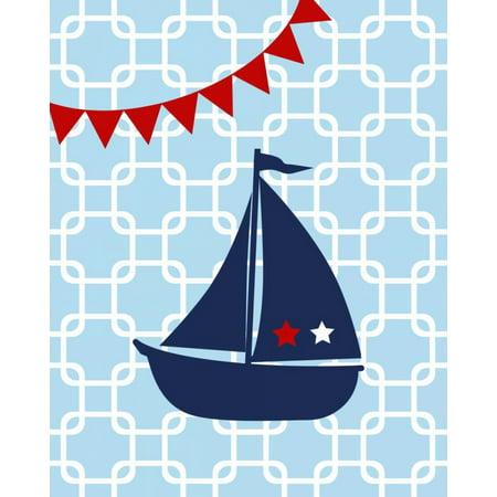 Sailboat Chain Boy Stretched Canvas - Tamara Robinson (24 x