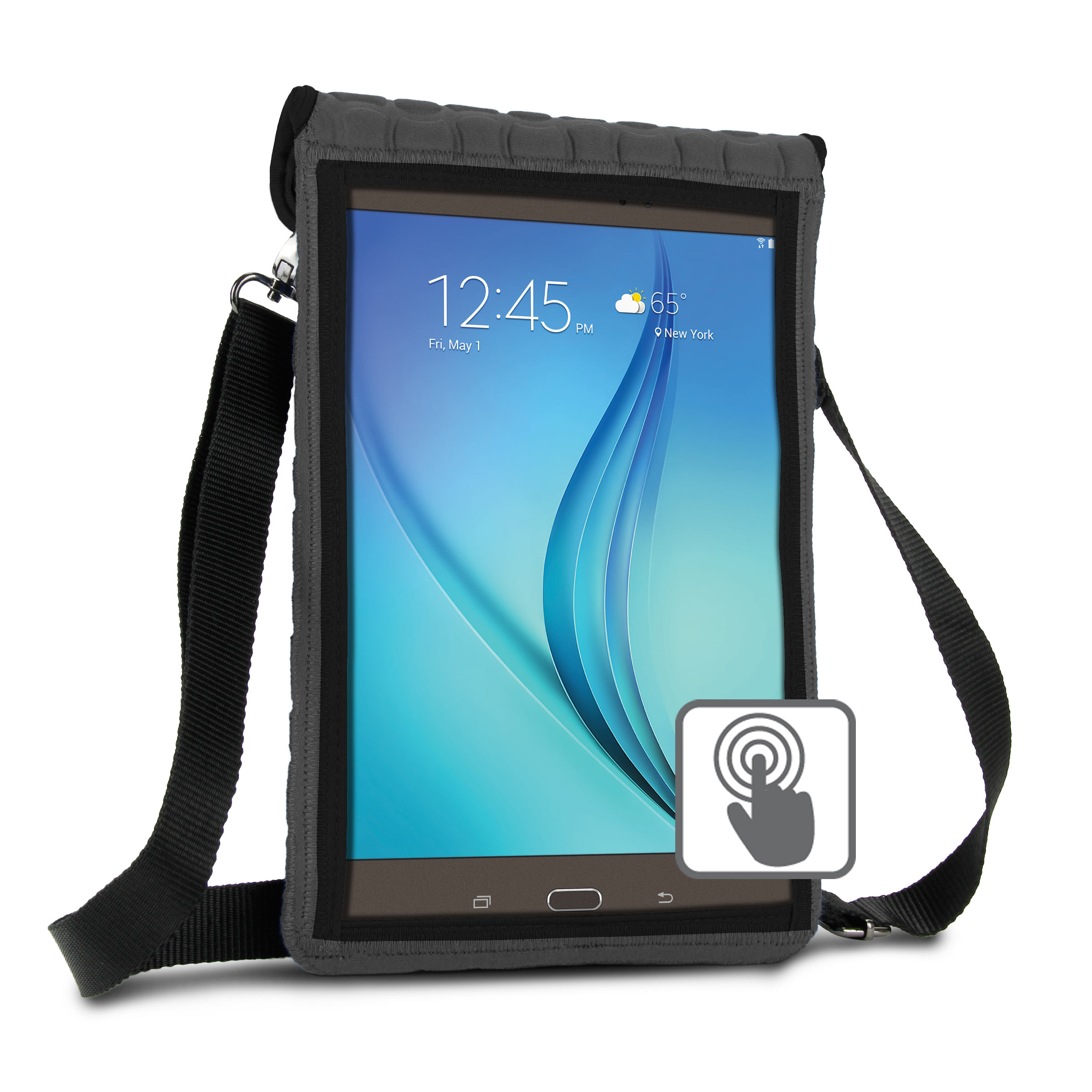 "10 Inch Tablet Case Holder Neoprene Sleeve Cover by USA Gear (Grey) Built-in Screen Protector & Carry Strap - Fits Samsung Galaxy Tab A 10.1, Insignia FLEX 10.1, Acer ICONIA ONE 10, more 10"" Tablets"