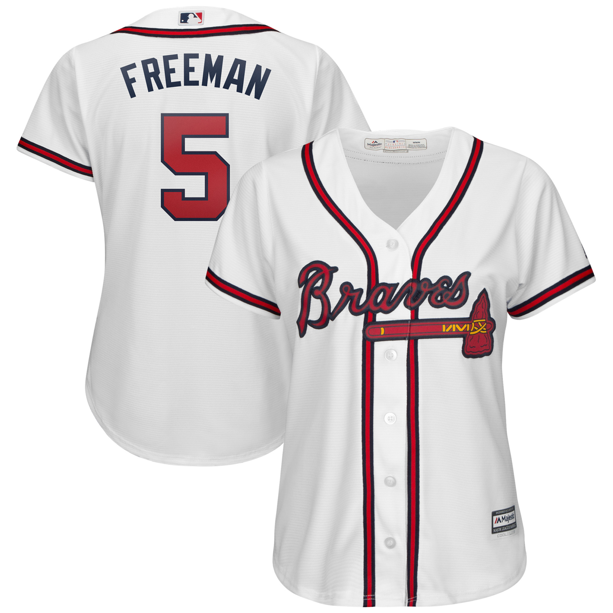 Freddie Freeman Atlanta Braves Majestic Women's 2019 Home Cool Base Player Jersey - White