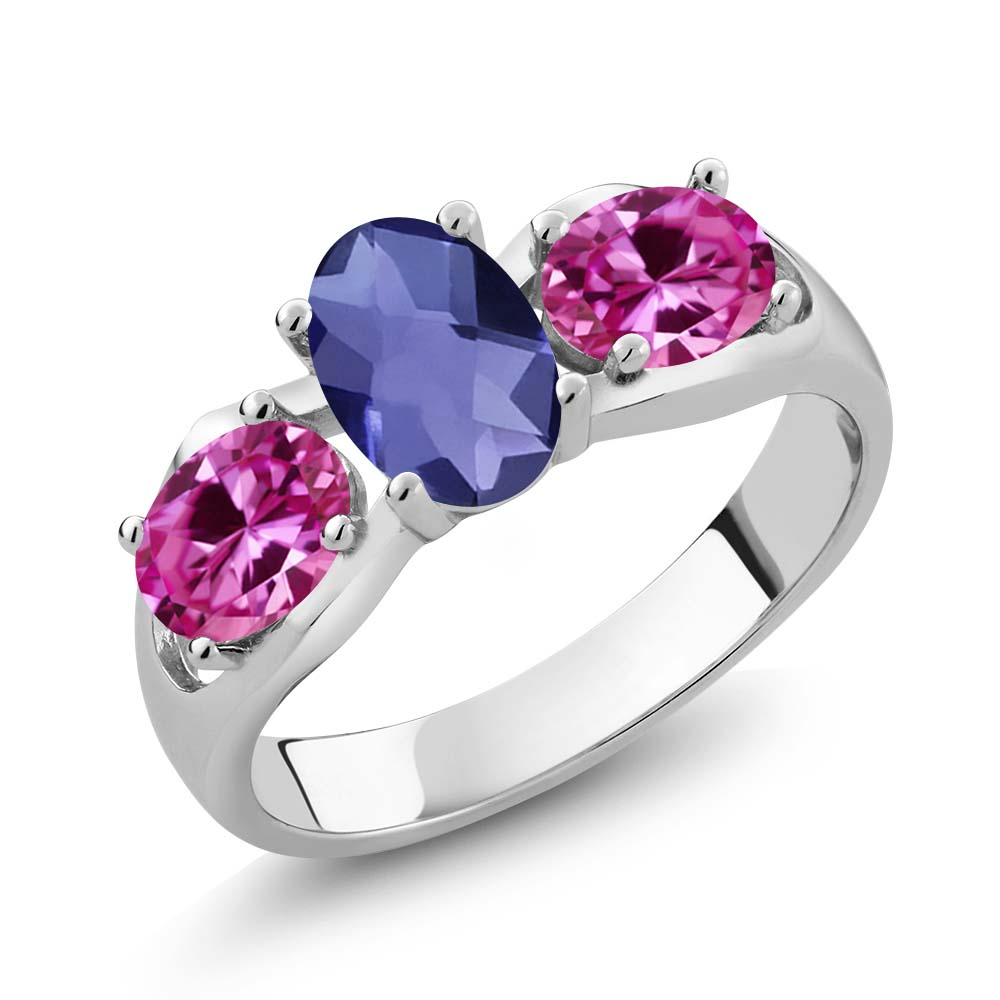 1.65 Ct Oval Checkerboard Blue Iolite Pink Created Sapphire 18K White Gold Ring by