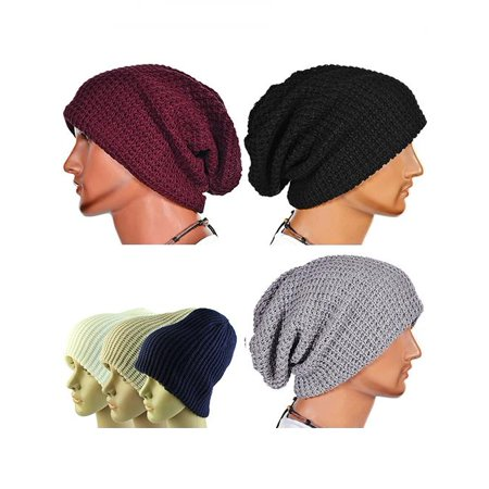 Men Fashion Knitting Slouchy Beanie Cap Baggy Vertical Stripe Warm Winter Hat - White Witch Hat