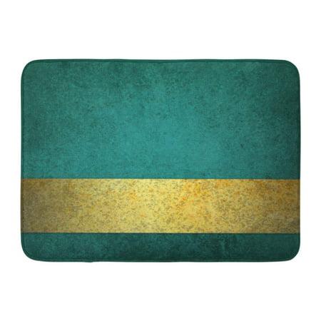 KDAGR Green Elegant Blue Teal Gold Ribbon Stripe Bar Along Bottom Border Blank Copyspace Yellow Announce Doormat Floor Rug Bath Mat 23.6x15.7 inch](Gold Door)