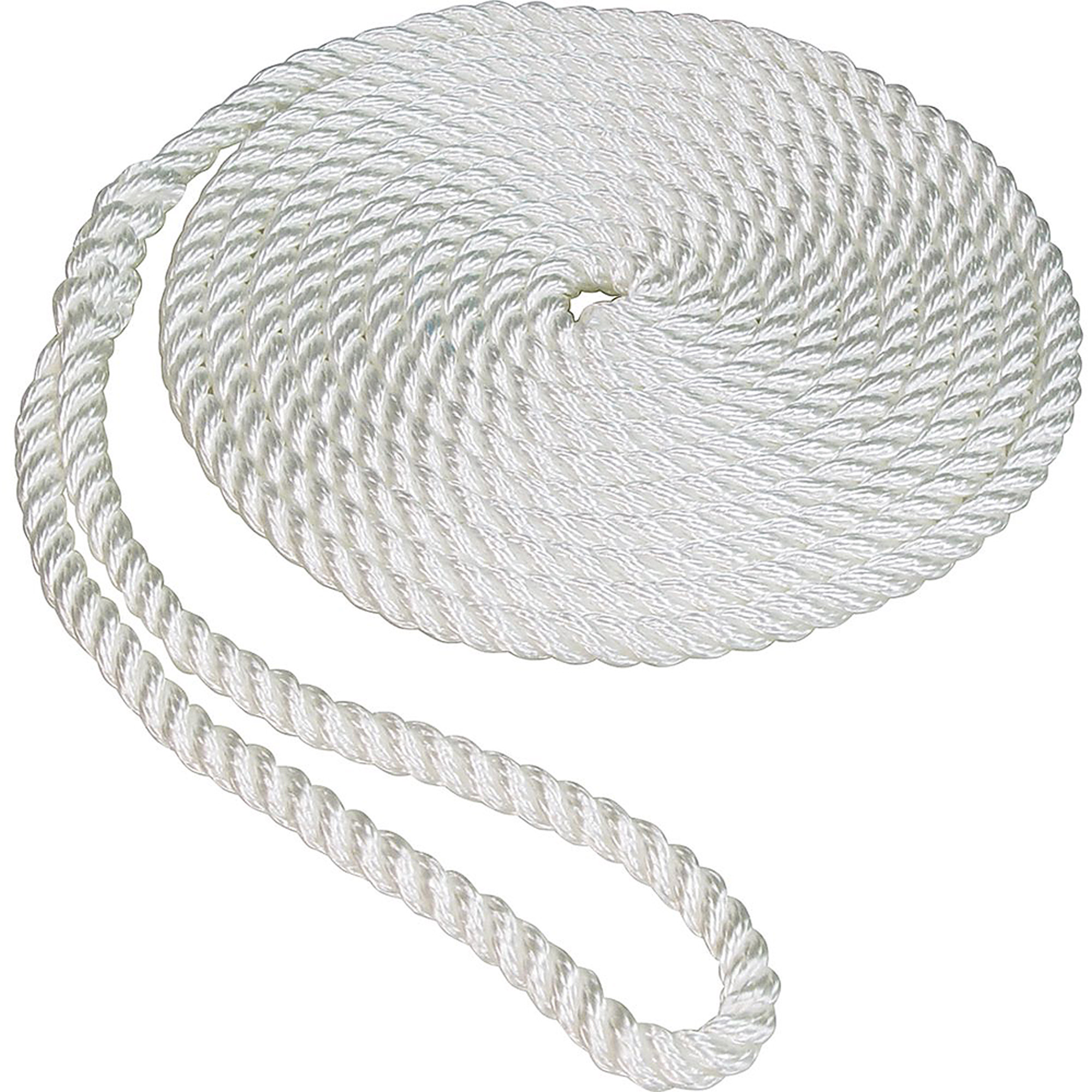 "SeaSense Twisted Nylon Dock Line, 3 8"" x 20', 10"" Eye, White by Generic"