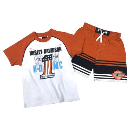 7de61db129 Harley-Davidson - Harley-Davidson Little Boys' Swim Trunk & Short Sleeve  Tee Toddler Set 9072635, Harley Davidson - Walmart.com