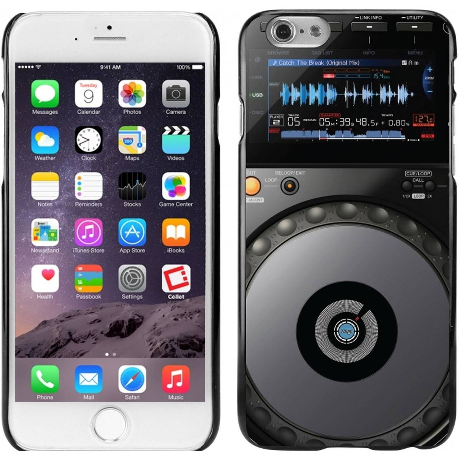 Cellet Black Proguard Case with DJ Turntable for Apple iPhone 6