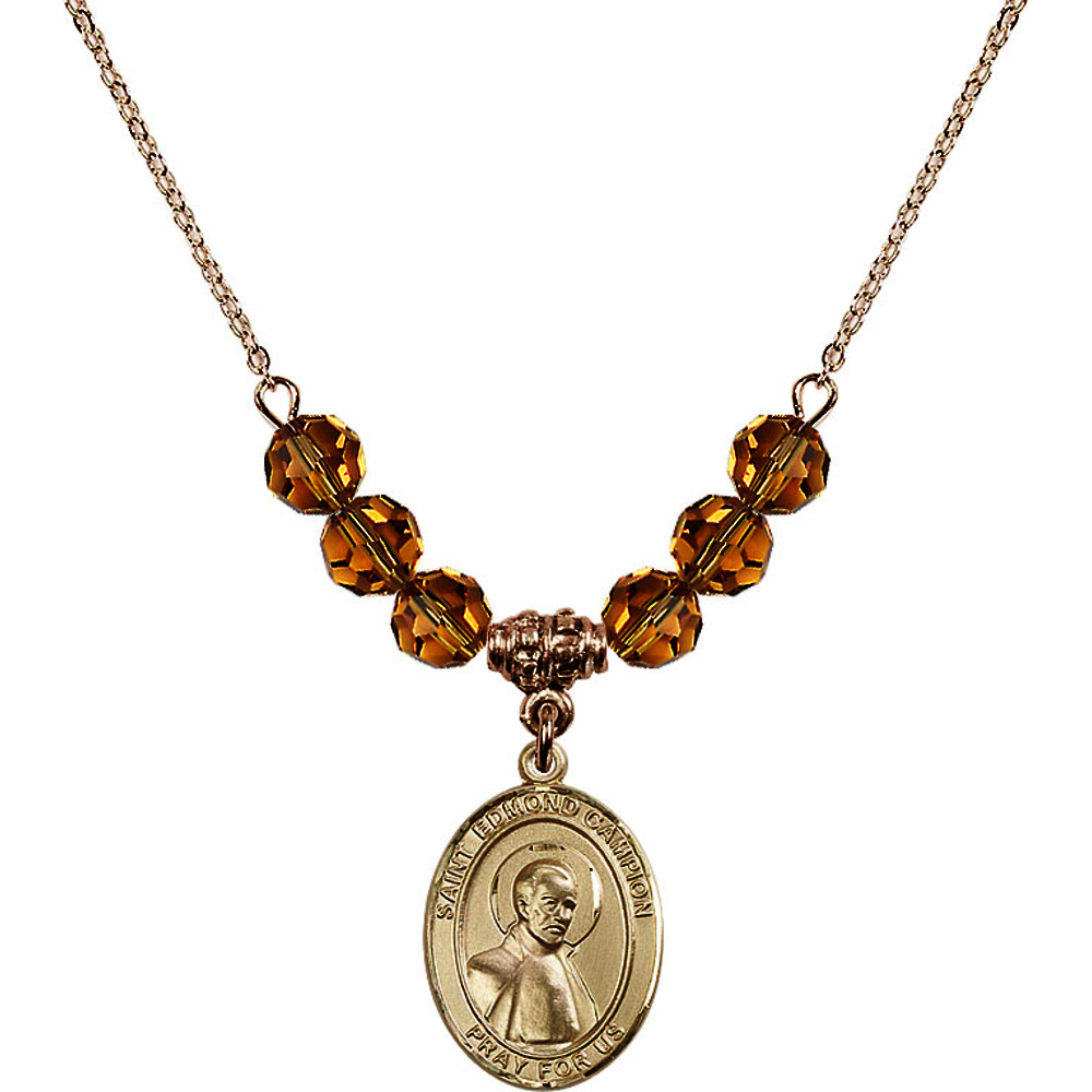 18-Inch Hamilton Gold Plated Necklace with 6mm Yellow November Birth Month Stone Beads and Saint Edmund Campion Charm by