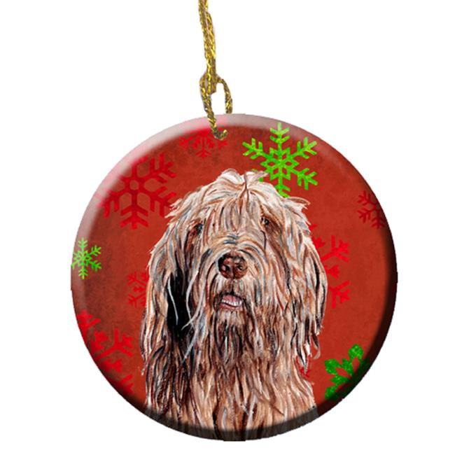 Carolines Treasures SC9757CO1 Otterhound Red Snowflakes Holiday Ceramic Ornament - image 1 of 1
