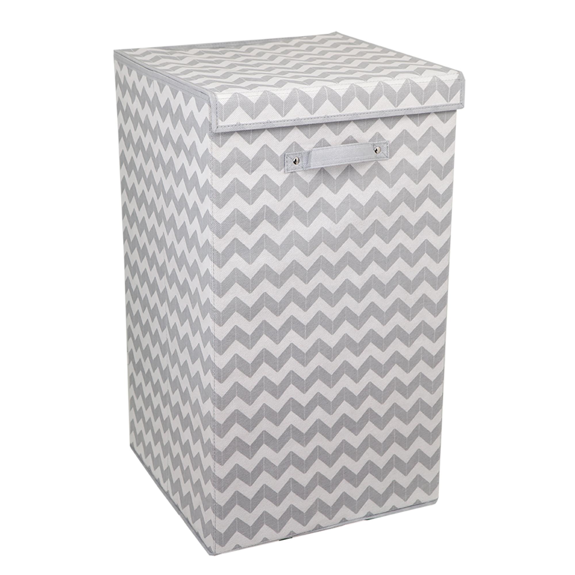 Home Basics Gray and White Chevron Folding Laundry Hamper