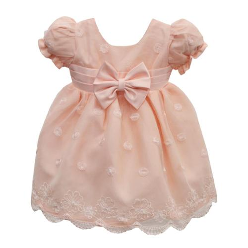 Baby Girls Peach Floral Embroidery Overlay Precious Easter Dress 6-24M