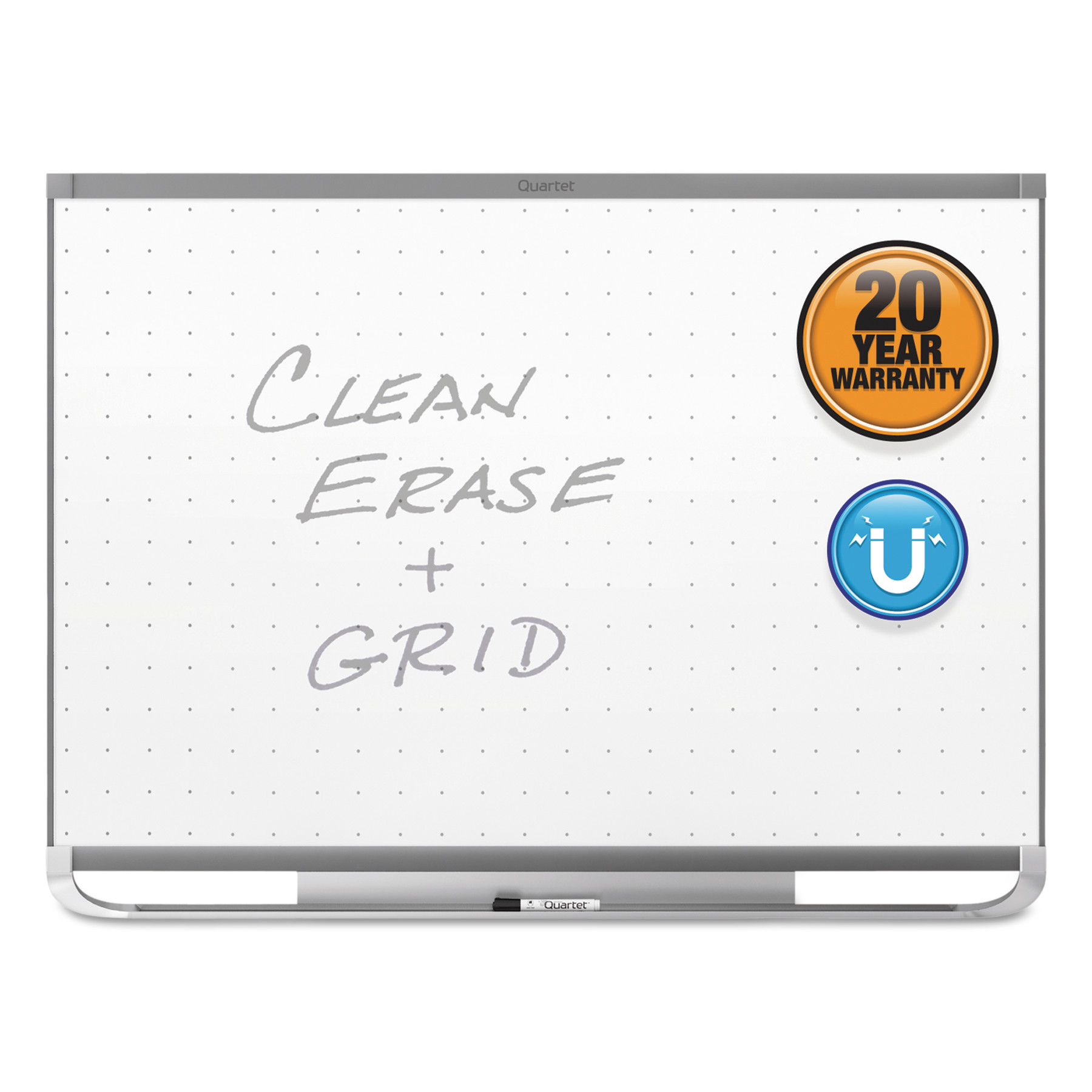 Quartet Prestige 2 Magnetic Total Erase Whiteboard, 96 x 48, Graphite Frame