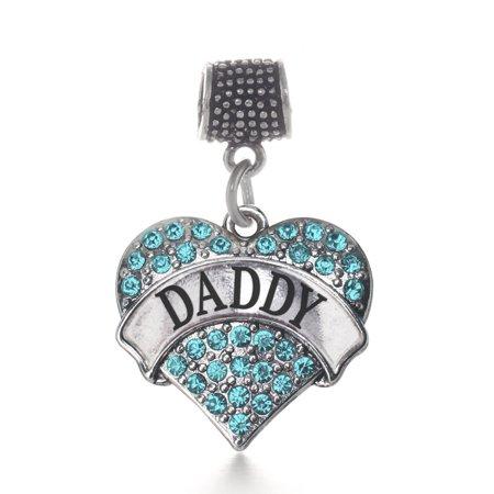 Daddy Aqua Pave Heart Memory Charm ()
