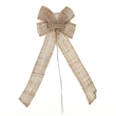 - Natural Burlap Bow with Wire, Natural, 10-Inch