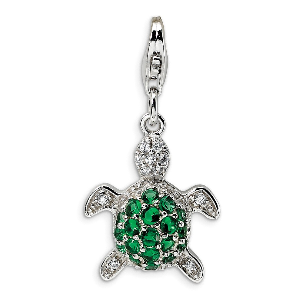 Sterling Silver Green & Clear CZ Turtle with Lobster Clasp Charm (0.6in)