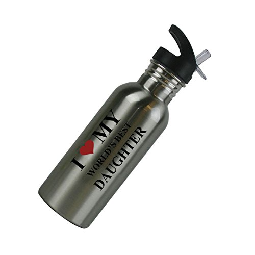 I Love My World's Best Daughter Stainless Steel Silver 20 Oz (600mL) Water Bottle with Sport Top, Straw