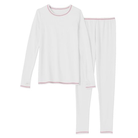 Cuddl Duds Chill Chasers Girls White & Pink Thermal Underwear Base Layer Set