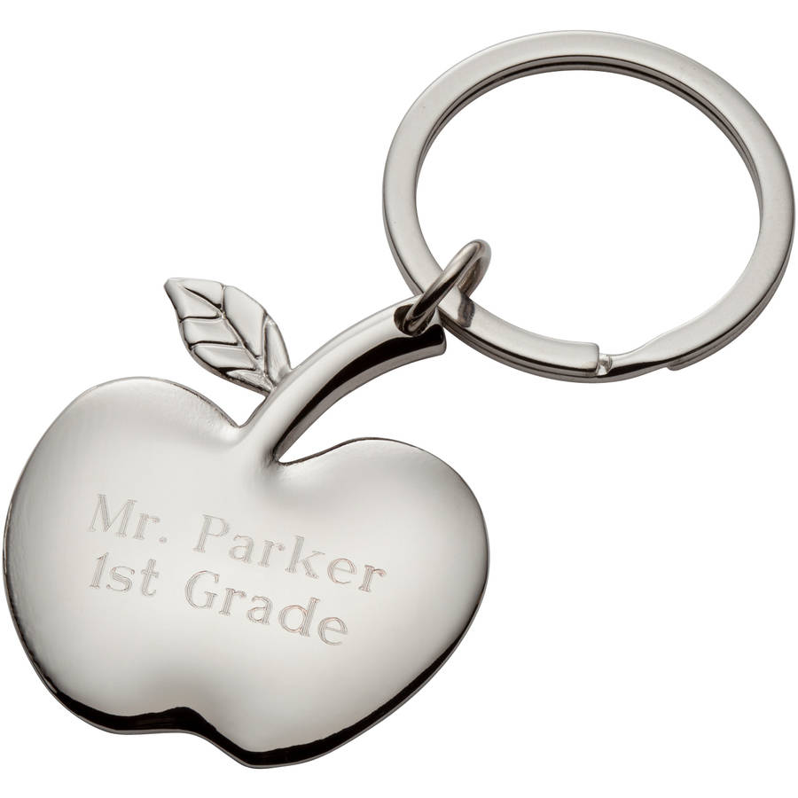 Personalized Apple Keychain, Block Font - Teacher Gift