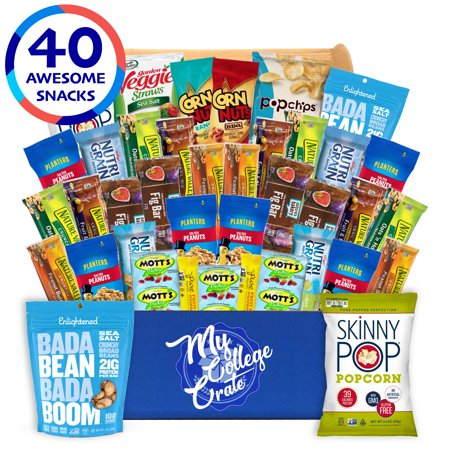 My College Crate Ultimate Healthy Snack Care Package for College Students - Variety Assortment of Healthy Snacks (40 Snacks) - The Healthy College Survival - Cool Snacks For Halloween
