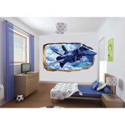 Startonight 3D Mural Wall Art Photo Decor Fight Plane in you Room! Amazing Dual View Surprise Wall Mural Wallpaper for Bedroom Kids Wall Paper Art Gift Large 47.24 '' By 86.61 ''
