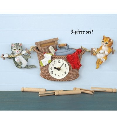 Whimsical Laundry Coordinating Clothesline Cat Playful Kitten In Socks Wash Room Decor Clock Curtain Set Polyester Imported Valance 13 X 35 Two Tier Panels By Knl Store Walmart Com Walmart Com