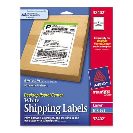 avery shipping labels 6 3 4 x 4 1 4 white 50 count walmart com