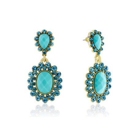 Passiana Summer Crystal Earrings Turquoise