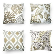 Phantoscope New Living Series Decorative Throw Pillow Cover, 18 x 18, Coffee, 4 Set