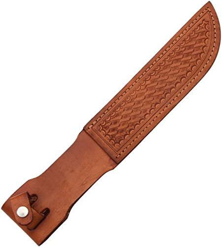 SH1136 Sheath Straight Knife Brown Basketweave Leather Fits Up To 7 Blade Multi-Colored